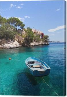 Leinwandbild Alte Ruderboot in Cala Fornells, Mallorca Festgemacht