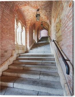 Leinwandbild Alte Treppen unter einem Ziegelstein-Tunnel