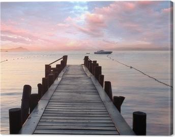 Leinwandbild Alter Holzsteg am Mittelmeer