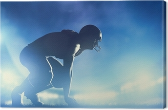 Leinwandbild American-Football-Spieler im Spiel. Stadion Lichter