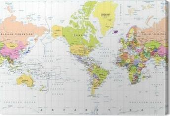 Leinwandbild Amerika Centered Politische Weltkarte isoliert auf weiß