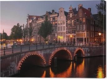 Leinwandbild Amsterdamer Gracht in der Dämmerung, Niederlande