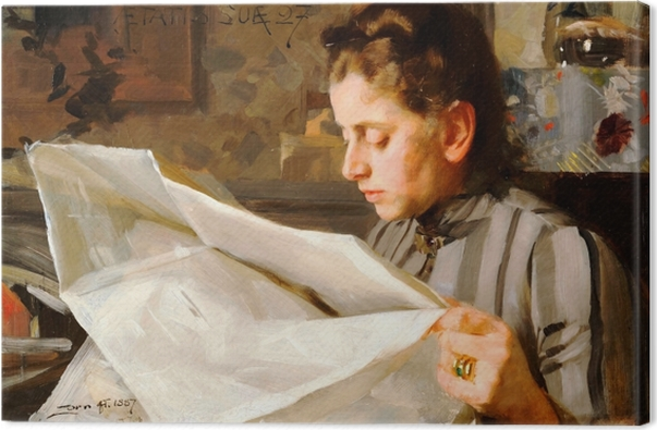 Leinwandbild Anders Zorn - Lesendes Mädchen - Reproductions