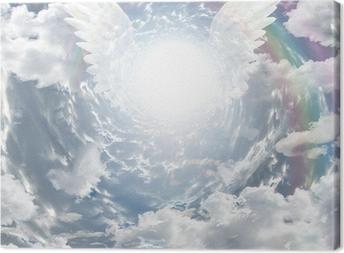 Leinwandbild Angelic Präsenz im Tunnel aus Licht