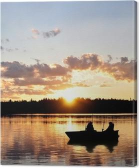 Leinwandbild Angler im Boot