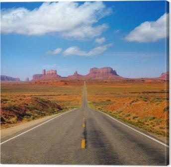 Leinwandbild Ansicht von US 163 Panoramastraße zum Monument Valley Utah