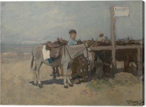 Leinwandbild Anton Mauve - Stand für Esel am Strand in Scheveningen - Reproductions