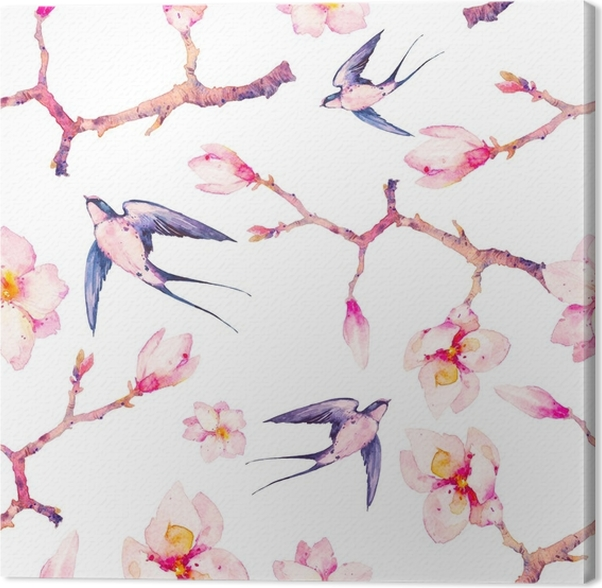 Leinwandbild Aquarell Frühling mit Schwalbe nahtlose Muster ...