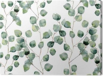 Leinwandbild Aquarell grün floral nahtlose Muster mit Eukalyptus runden Blättern. Hand bemalt Muster mit Zweigen und Blättern von Silber-Dollar Eukalyptus isoliert auf weißem Hintergrund. Für Design oder Hintergrund