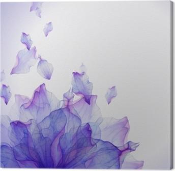 Leinwandbild Aquarell-Karte mit lila Blütenblatt