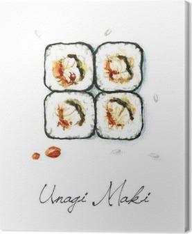 Leinwandbild Aquarell Lebensmittel Malerei - Unagi Maki