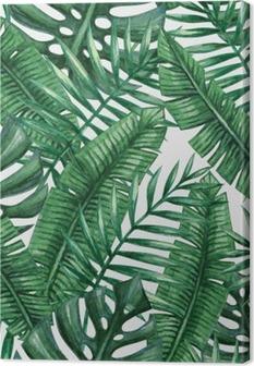 Leinwandbild Aquarell tropische Palmen Blätter nahtlose Muster. Vektor-Illustration.