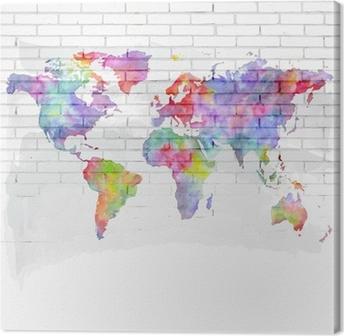 Leinwandbild Aquarell Weltkarte auf einer Backsteinmauer
