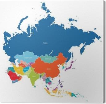 Leinwandbild Asien-Karte