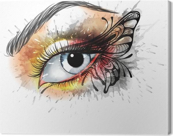 Leinwandbild Augen Make Up Mit Schmetterling