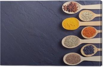 Leinwandbild Auswahl von indischen Gewürzen