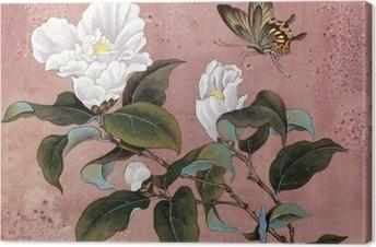 Leinwandbild Azalee Blume und Schmetterling