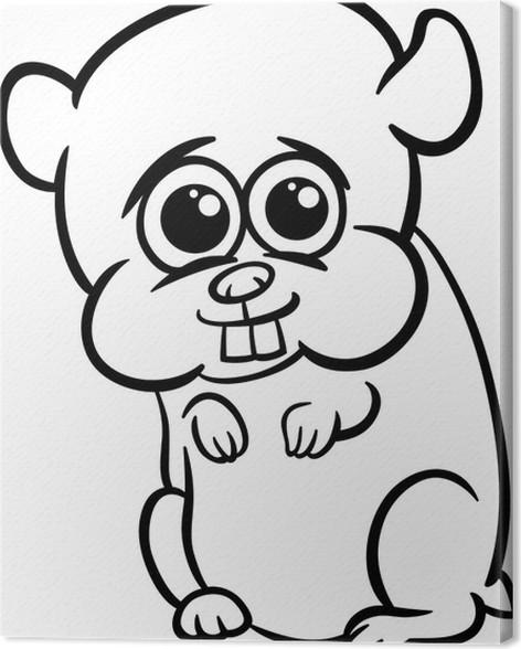 Leinwandbild Baby-Hamster-Cartoon Färbung Seite • Pixers® - Wir ...