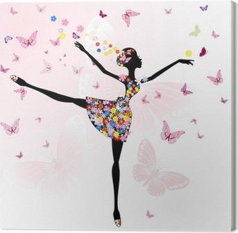 Leinwandbild Ballerina Mädchen mit Blumen mit Schmetterlingen