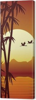 Leinwandbild Bambus-und Sonnenuntergang