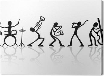 Leinwandbild Band Musiker Gruppe von Hand gezeichneten Vektor T-Shirt mit der Technik