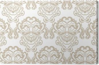 Leinwandbild Barockes Verzierungsmusterelement des vektorblumendamastes. elegante Luxus Textur für Textilien, Stoffe oder Tapeten Hintergründe. beige Farbe