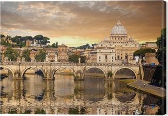 Leinwandbild Basilica di San Pietro mit Brücke im Vatikan, Rom, Italien