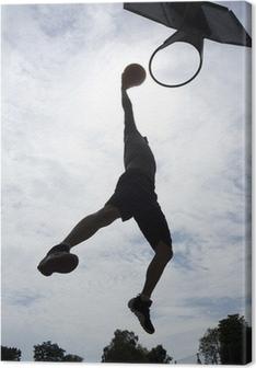 Leinwandbild Basketball-Spieler-Slam Dunk Silhouette