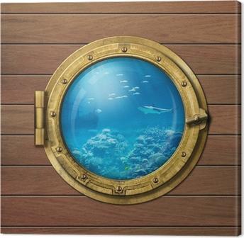 Leinwandbild Bathyscaphe oder U-Boot-Bullauge unter Wasser