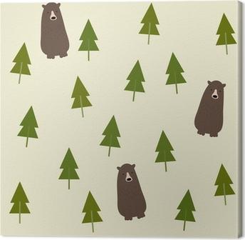 Leinwandbild Bear and forest seamless background.