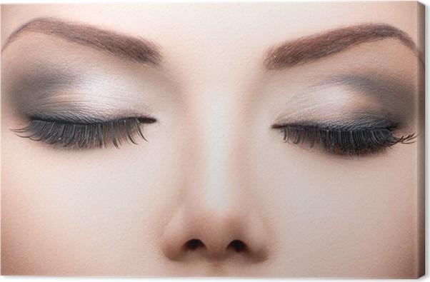 Leinwandbild Beauty Augen Make Up Nahaufnahme. Lange Wimpern, Perfekte Haut