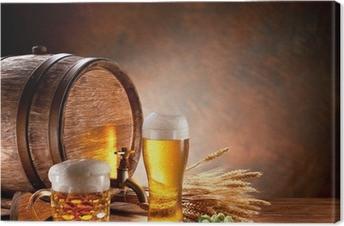 Leinwandbild Beer barrel mit Bier Gläser auf einem Holztisch.