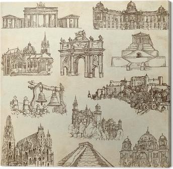 Leinwandbild Berühmte Orte und Architektur rund um die Welt - Papier-Set 4