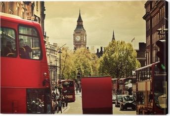 Leinwandbild Besetzt Straße von London, England, Großbritannien. Rote Busse, Big Ben