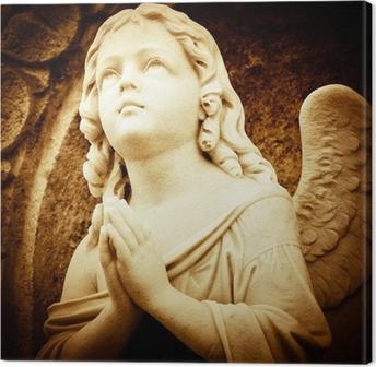 Leinwandbild Beten Engel in Brauntönen