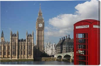 Leinwandbild Big Ben mit roten Telefonzelle in London, England