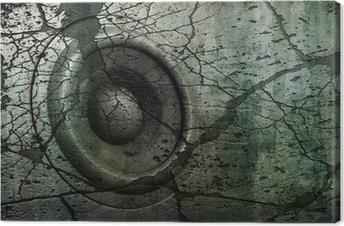 Leinwandbild Blau HD 3d render grunge alten Lautsprecher-Soundsystem DJ DJ