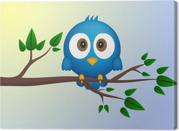 Leinwandbild Blauer Vogel sitzt auf Zweig • Pixers® - Wir leben, um ...