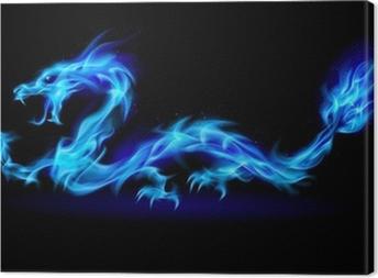 Leinwandbild Blaues Feuer Drachen