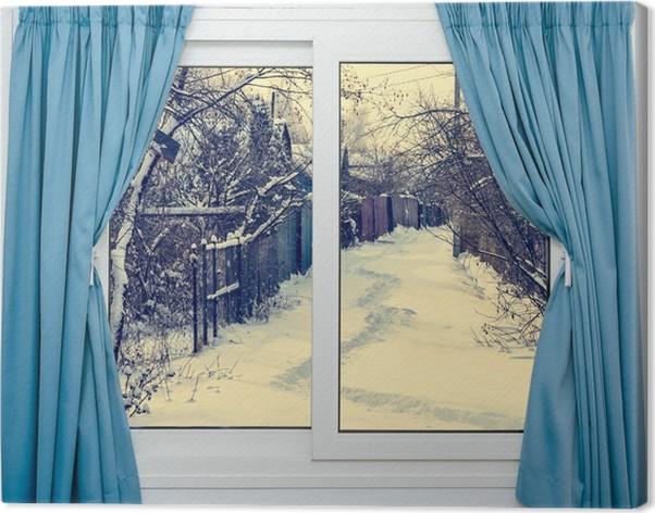 leinwandbild blick aus dem fenster auf die pixers wir leben um zu ver ndern. Black Bedroom Furniture Sets. Home Design Ideas