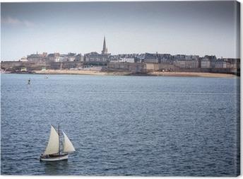 Leinwandbild Blick über die Stadtmauer von Saint-Malo, Bretagne, Frankreich