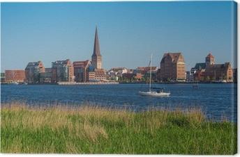 Leinwandbild Blick über die Warnow auf die Hansestadt Rostock.