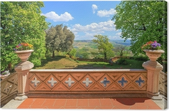 Leinwandbild Blick von der Burg Terrasse. Novello, Norditalien.