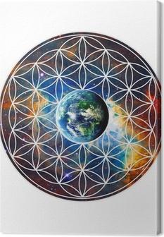 Leinwandbild Blume des Lebens - Erde - Heilige Geometrie
