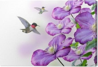 Leinwandbild Blumen und Kolibris