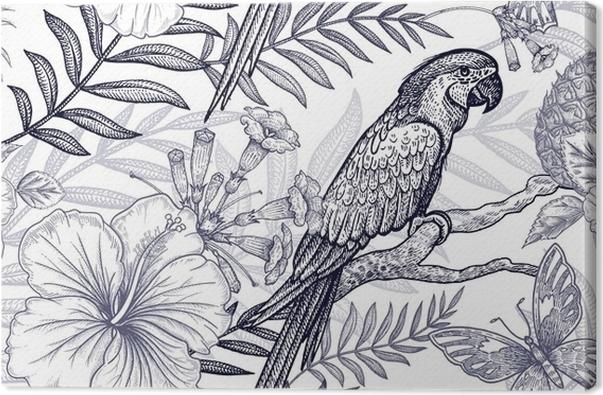 Leinwandbild Blumen und Vögel nahtlose Muster. Handzeichnung ...