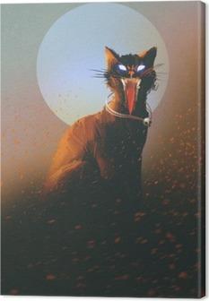 Leinwandbild Böse Katze auf dem Hintergrund des Mondes, untot, Horror-Konzept, illustration