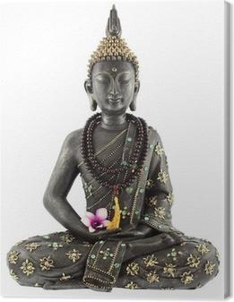 Leinwandbild Bouddha avec chapelet de prière et fleur d'orchidée