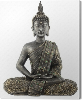 Leinwandbild Bouddha statue de bronze zen