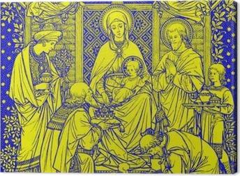 Leinwandbild BRATISLAVA, SLOWAKEI, - 21. November 2016: Die Lithographie von Heiligen Drei Könige in Missale Romanum von einem unbekannten Künstler mit den Initialen FMS von Ende 19. Jh. und gedruckt von Typis Friderici Pustet.